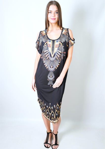 CH1070-59SS Jewel Print Tunic Dress (Pack) New Arrival