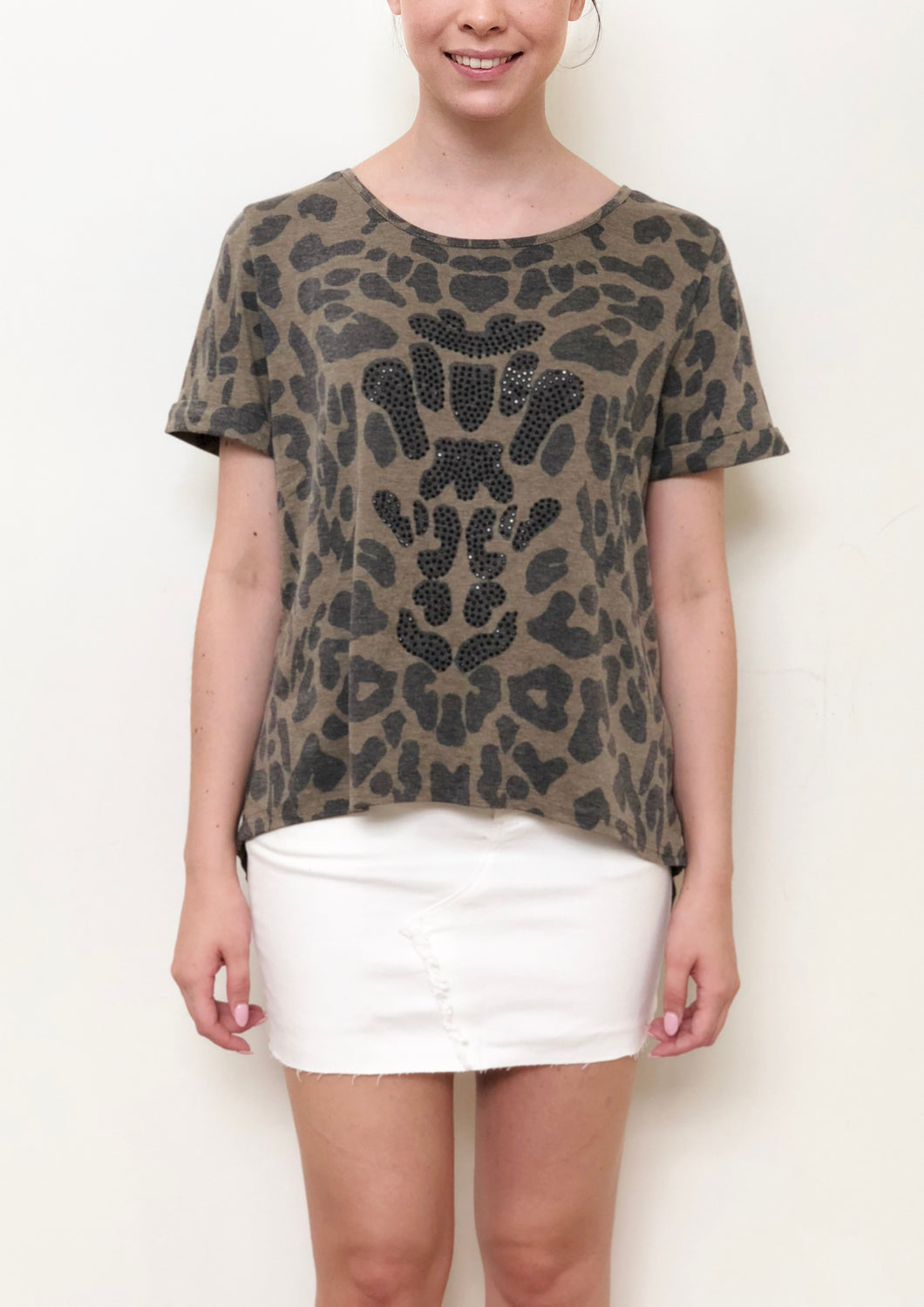 MC0073SS Khaki Leopard Embellished Top (Pack)