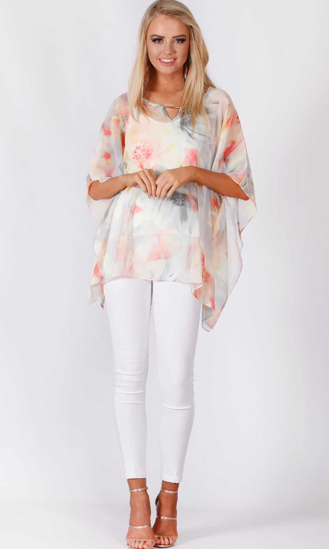 VS7233-1TB APRICOT FLORAL TUNIC TOP (Pack)