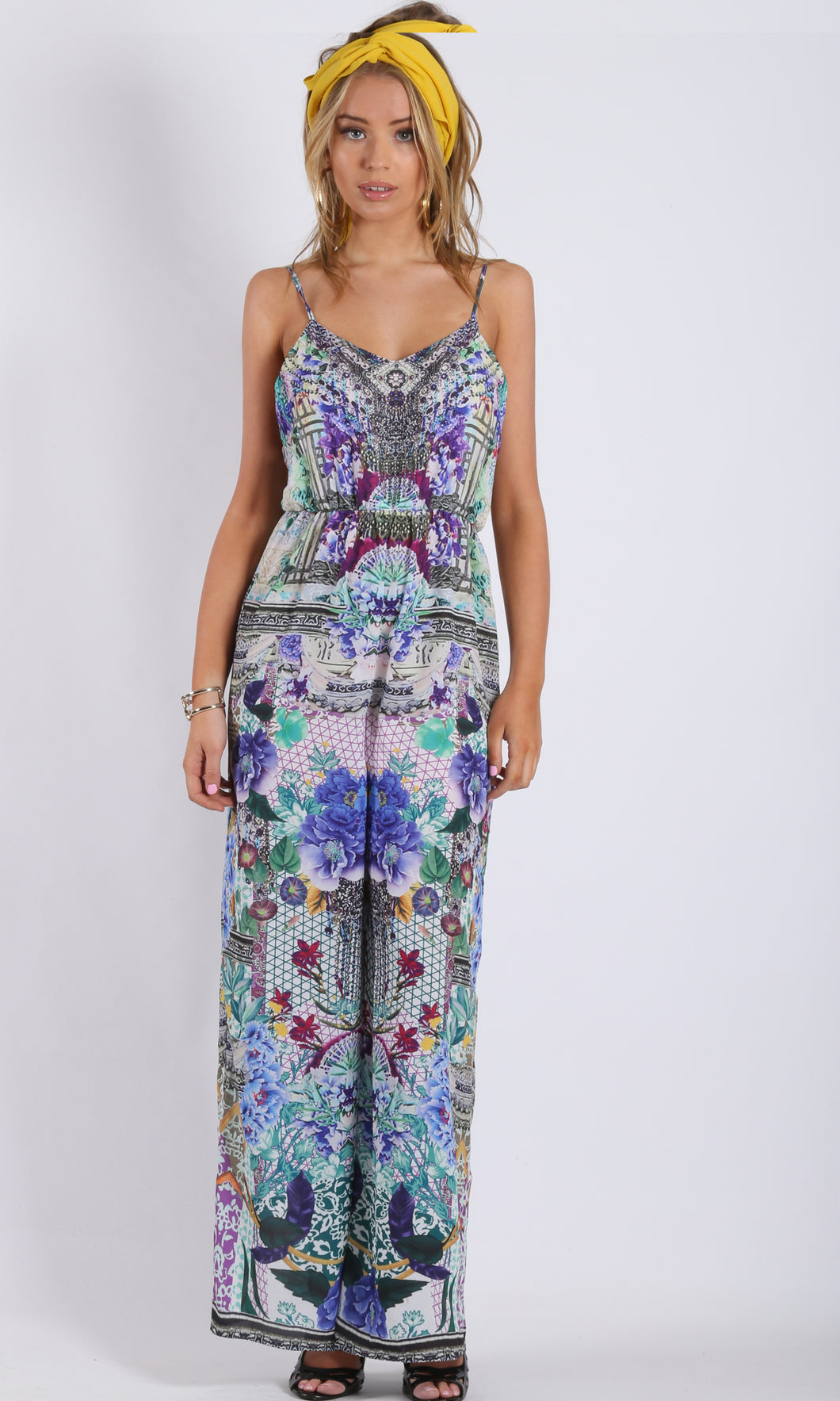 HS16034SS  WIDE LEG PRINTED JUMPSUIT (Pack)
