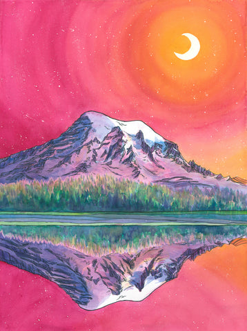 Rainier by Moonlight Card