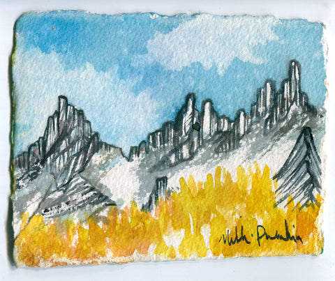 Yellow Larches and Prusik Peak Double Sided Painting