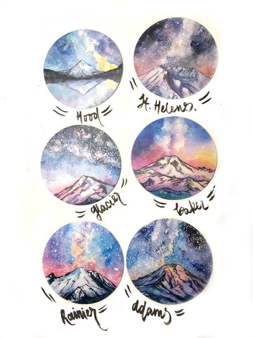 Six Volcano Stickers