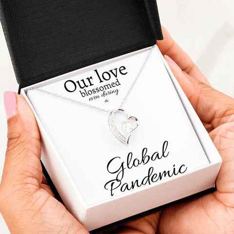 Our love blossomed, even during a Global Pandemic - Heart Pendant Necklace