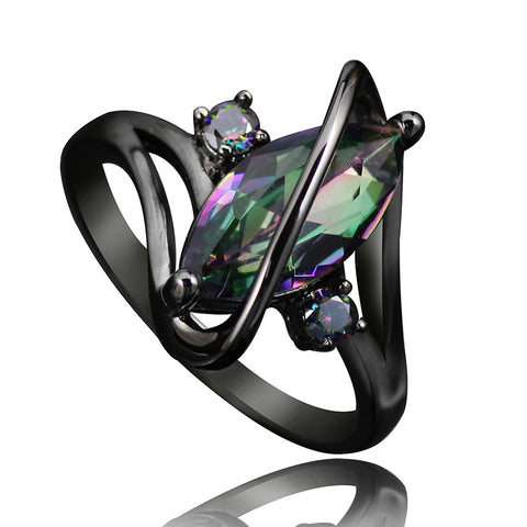 Rainbow Stone Gun-Plated Opal Ring