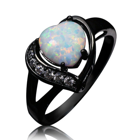 White Opal Heartfire Ring