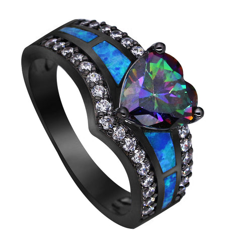 Dynamic Embroidered Opal Heart Ring