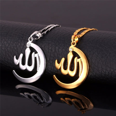 Crescent Allah Pendant Necklace Gold Plated