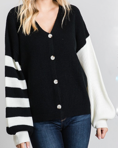 black and white color block cardigan with different sleeves