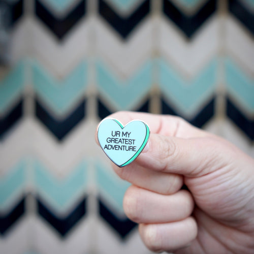 Great Adventure Conversation Heart Pin