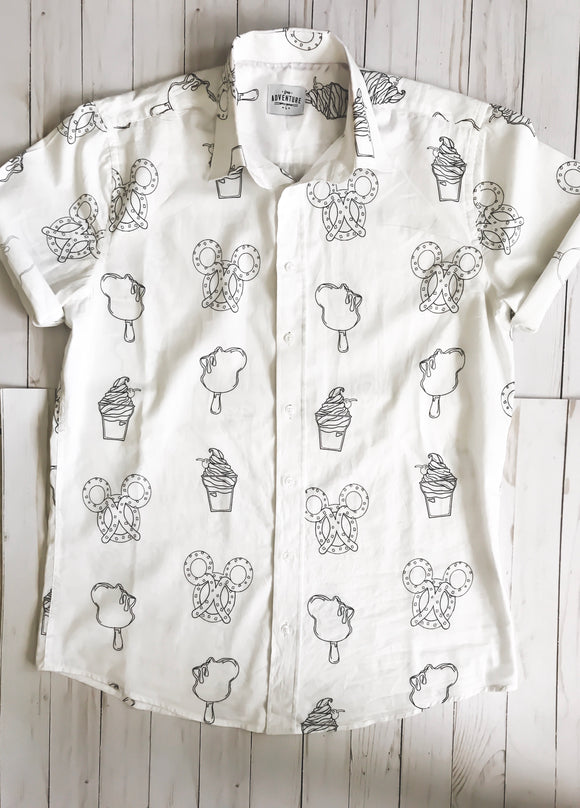 Snack Attack Button Down (White)