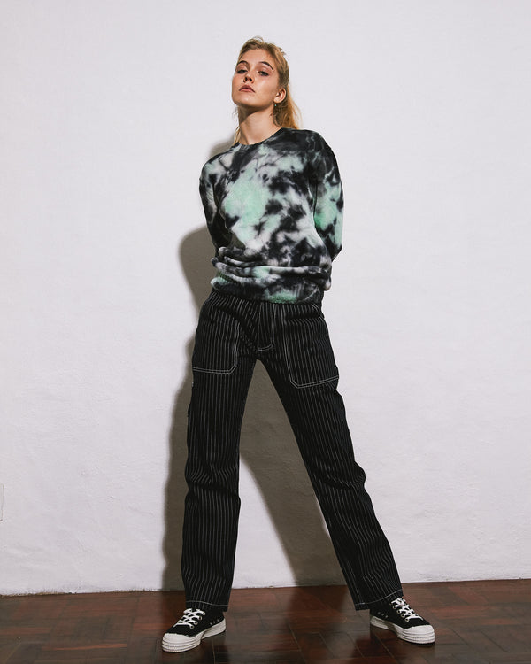 Charcoal Mint Cotton Crush-dye Sweater