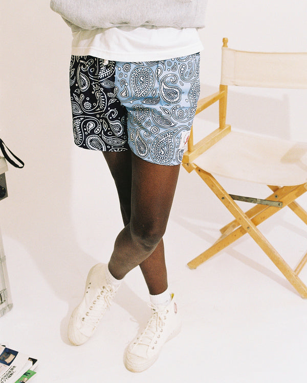 Tokyo Athletic Club navy & baby blue paisley training shorts