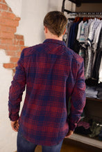 """ Super Dry Milled "" Red and Blue Plaid Button Down Flannel Long Sleeve Shirt"