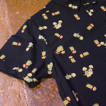 """ Ken "" Black with Pineapple Graphic Short Sleeve Button Down Shirt"