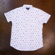 """ Josh "" White with Sushi Graphic Short Sleeve Button Down Shirt"