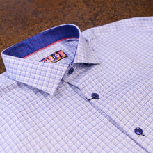""" Sander "" White and Blue Checked Long Sleeved Button Down Shirt"