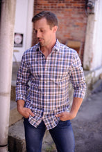 """ Juan "" Brown, White, Blue, and Pink Plaid Long Sleeve Button Down Shirt"