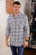 """ Super Dry Milled "" Light Blue and White Plaid Flannel Shirt"