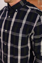 """ Penguin Dark Sapphire "" Blue, Green, White Button Down Plaid Long Sleeve  Shirt"