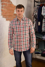 """ Flag & Anthem REMUPL "" Red, White, and Charcoal Plaid Long Sleeve Button Down Shirt"