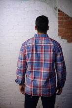 """ Earl "" Red, White, and Blue Plaid Long Sleeve Button Down Shirt"