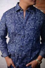 """ Bert "" Dark Blue Paisley Long Sleeve Button Down Shirt"