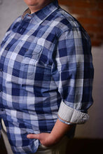 """ John "" Blue and White Plaid Long Sleeve Button Down Shirt"