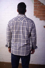 """ Todd "" Off White Blue Plaid Long Sleeve Shirt"