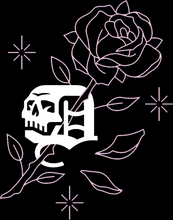 Skull Icon with rose and falling petals - Front Pocket Graphic
