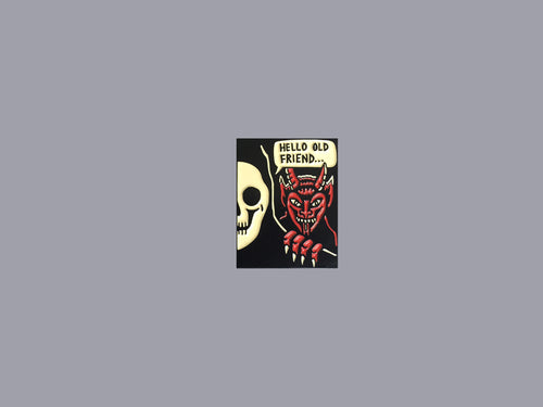 Hello Old Friend soft enamel pin with reaper and devil | DSTNT Culture