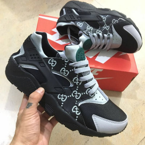Custom Gucci Black And Gray Air Huaraches