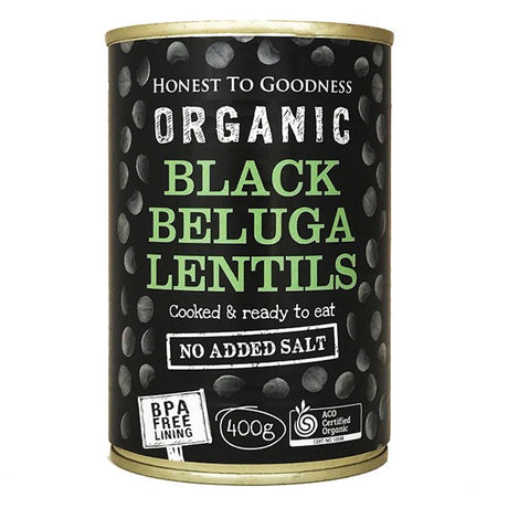 Black Beluga Lentils 400g - BPA Free (Cooked): Box 12 for $1.63ea