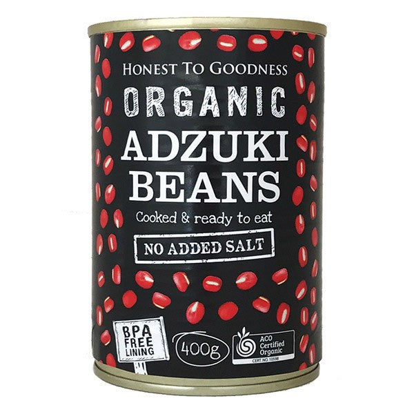 Organic Adzuki Beans 400g - BPA Free (Cooked): Box 12 for $1.63ea
