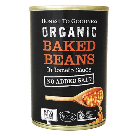 Organic Baked Beans in Tomato Sauce 400g - BPA Free (Cooked): Box 12 for $1.63ea