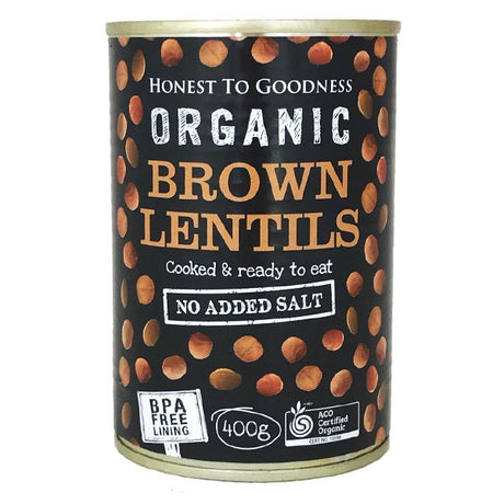 Organic Brown Lentils 400g - BPA Free (Cooked): Box 12 for $1.63ea