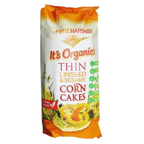 Organic Corn Cake Thins- Linseed & Sesame 150g