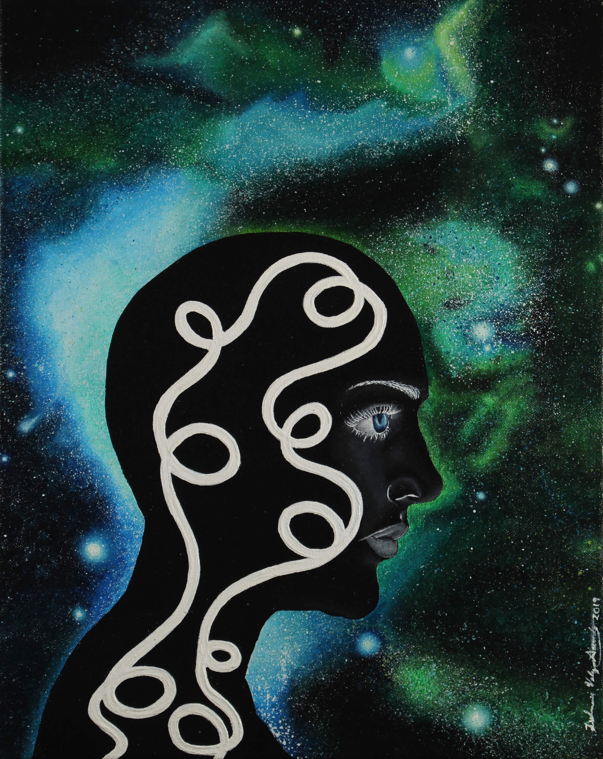 Acrylic painting of a male black head with a tangle string suspended in space by Zulmarie Vélez Acevedo