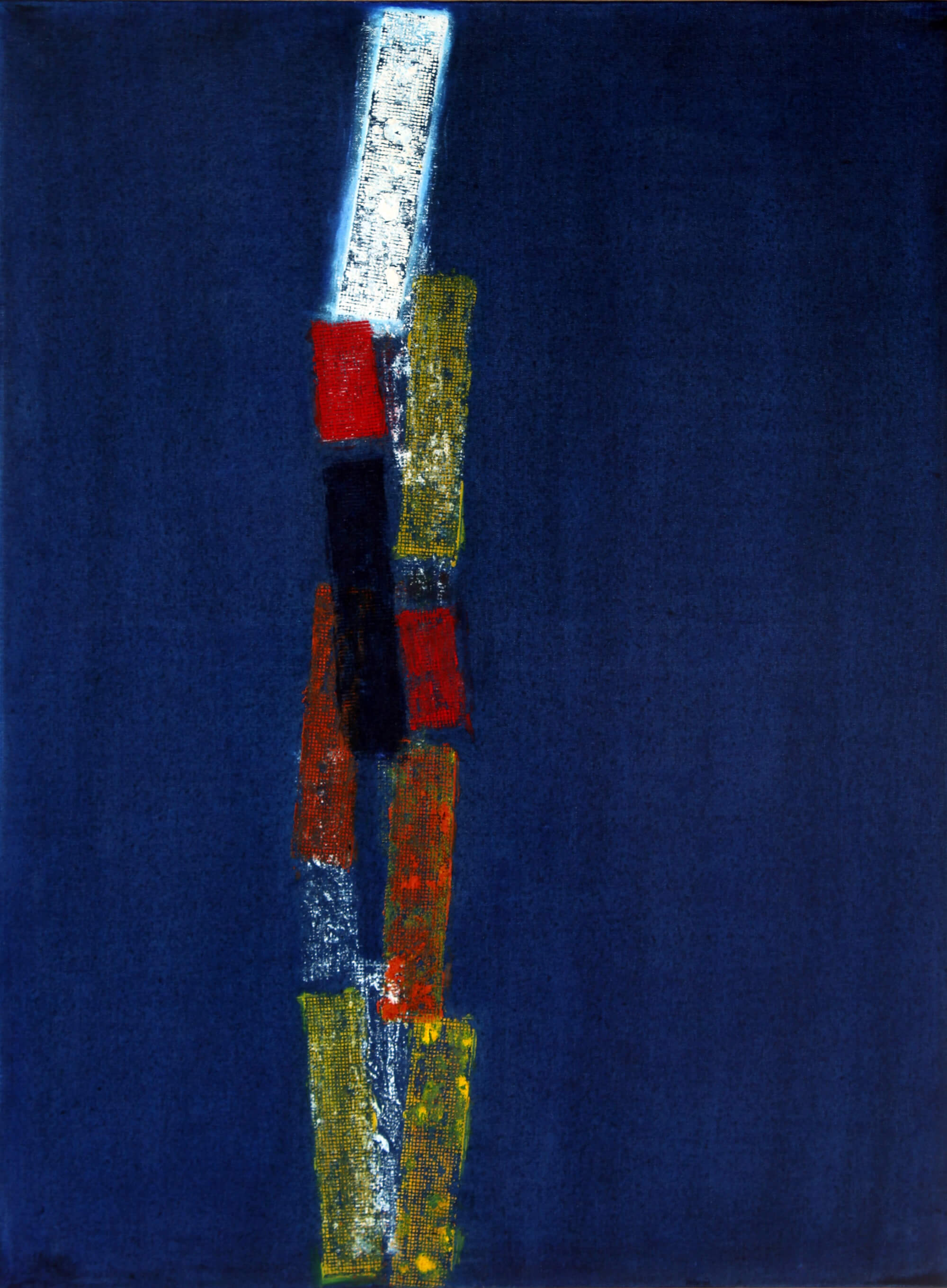 Abstract oil bar painting of car lights in a dark curfew night by Ludwig Medina
