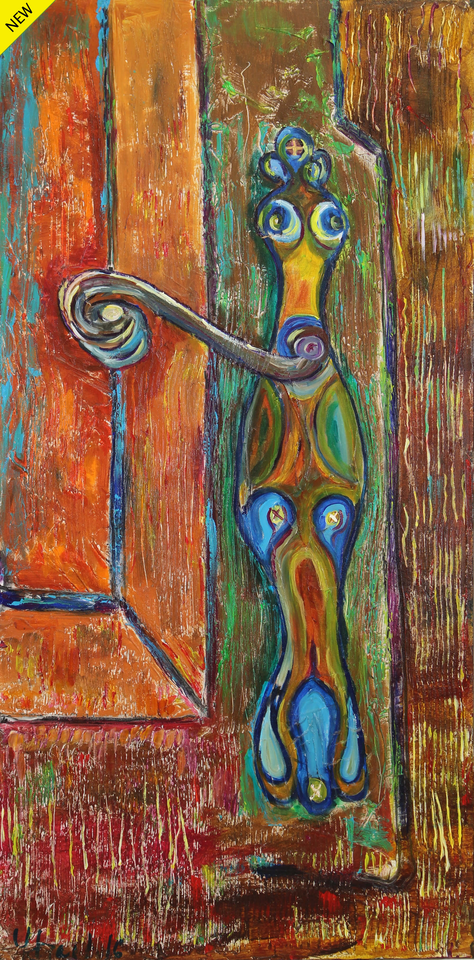 Acrylic painting of a floating, strange, and colorful creature trying to open or close a wood door by Vicente Ydrach.
