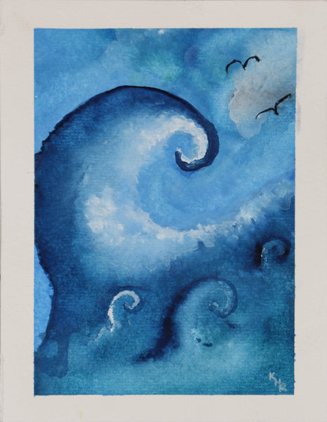 Watercolor painting of waves by Kevin Mejías