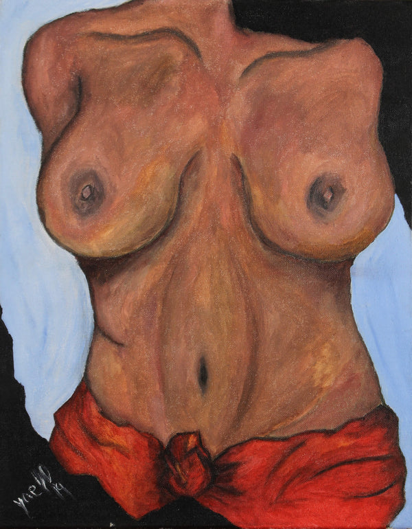 Acrylic painting the torso of a dark skin, dark hair, busty female with a red towel tied on her hips by Kyhan Yael