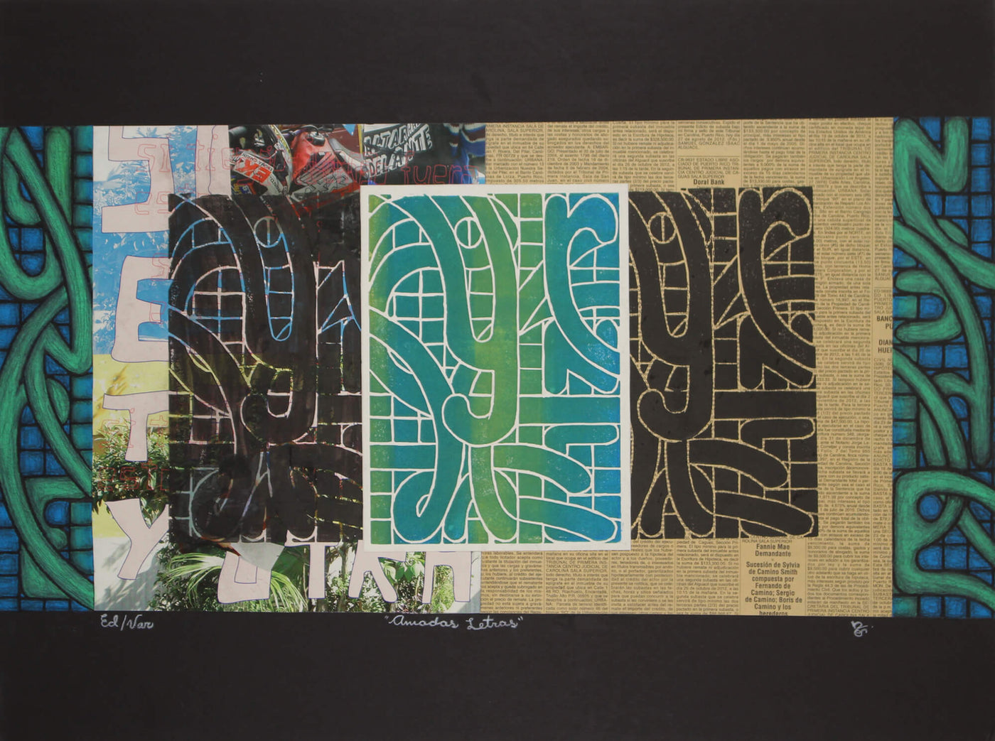Abstract linocut print of twisted letters over a newspaper background by Nicole Ortiz