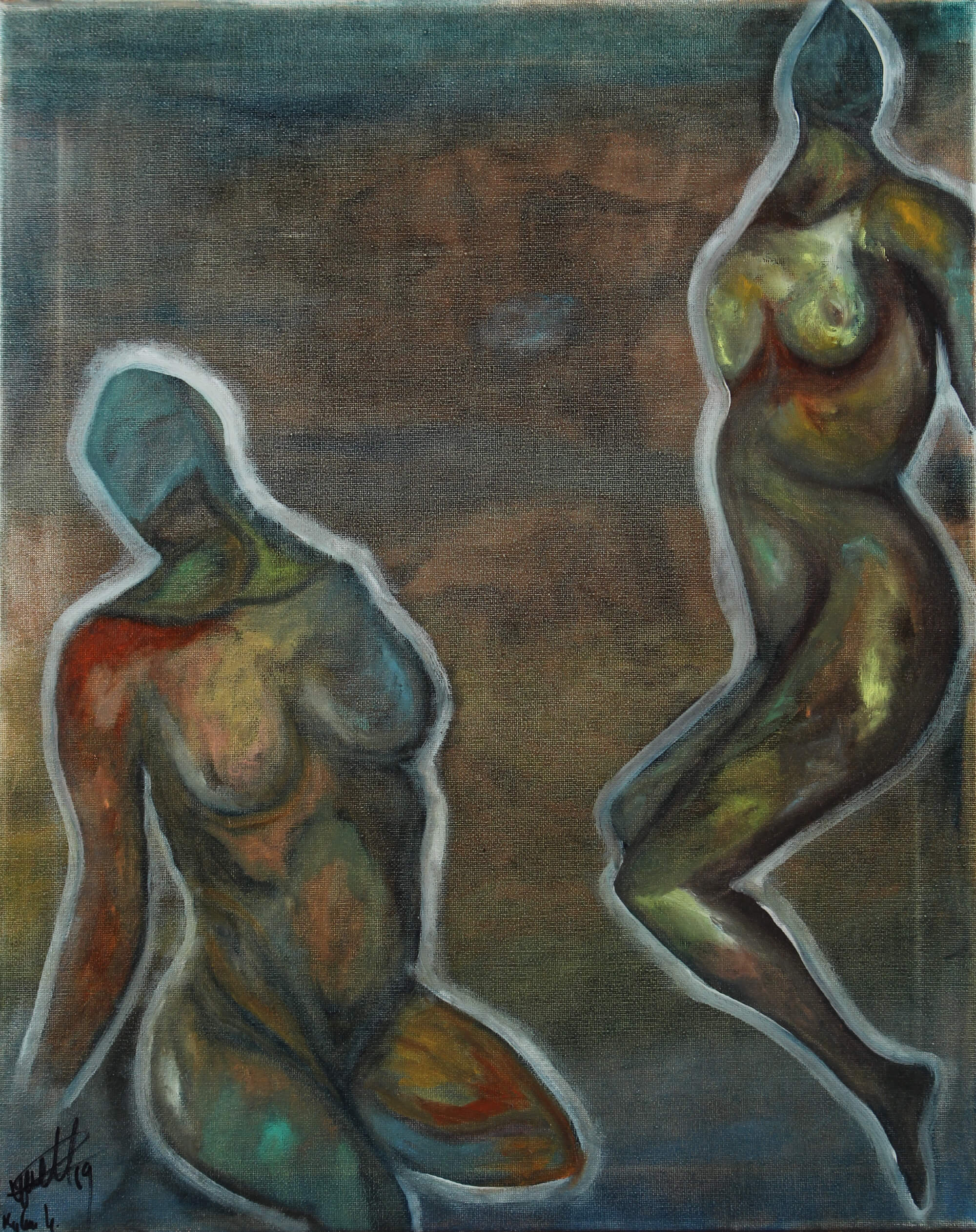 Oil painting of two non-interacting ambiguous human figures in a dark scenery by Kyhan Yael