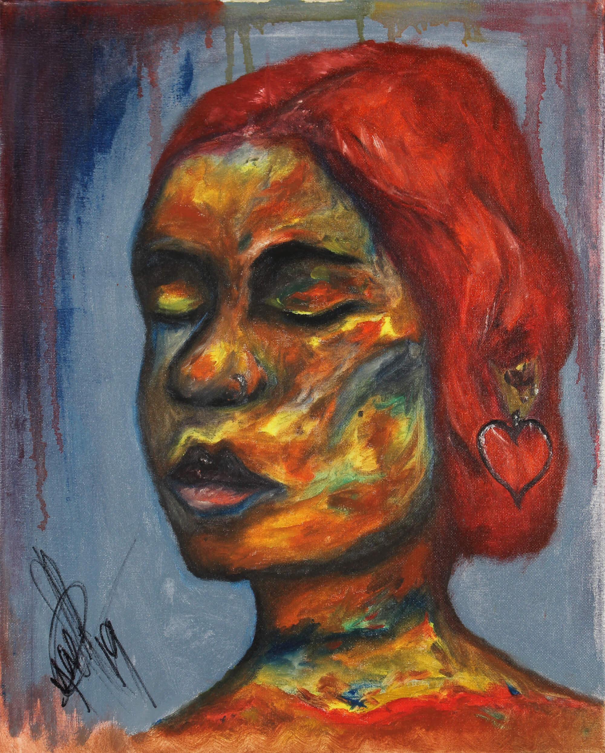 Oil painting of portrait of a red hair female with multi color skin and eyes closed by Kyhan Yael