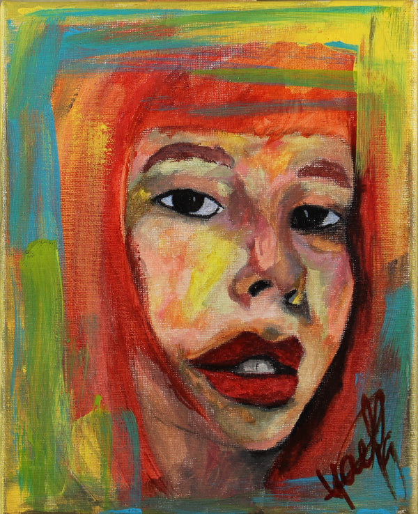 Acrylic painting of a portrait of a read head young female women by Kyhan Yael