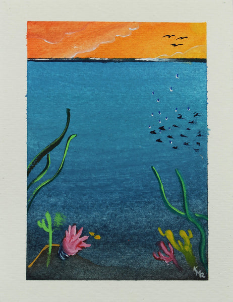 Watercolor painting of sky, land and under the sea world by Kevin Mejías