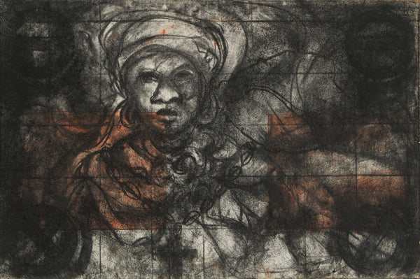 Carbon drawing on paper of black spiritual madama by Diógenes Ballester