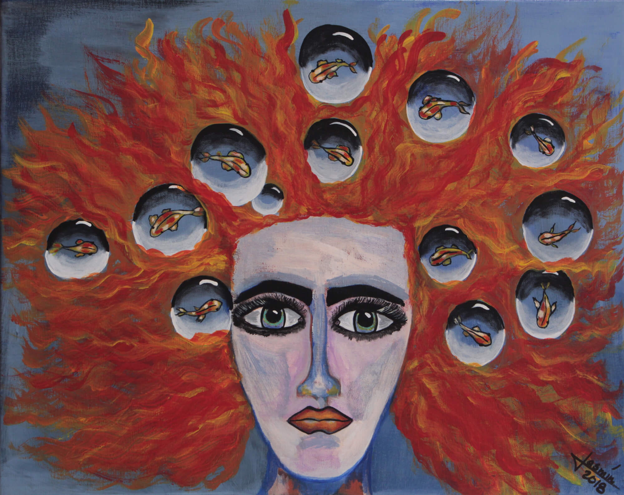 Acrylic painting of red spread hair female head and levitating water bubbles with fish by Jasmín Camacho