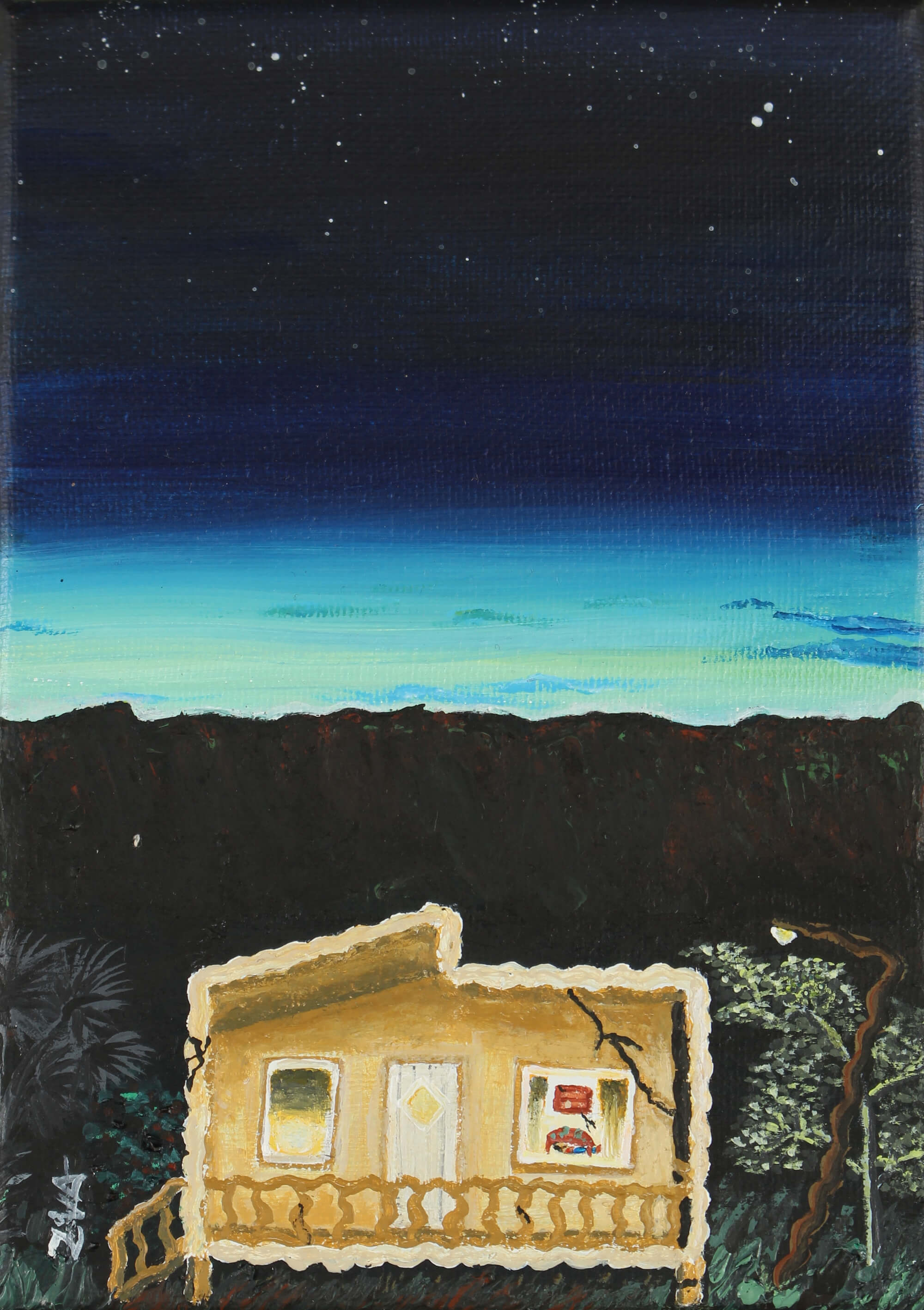 Acrylic painting of a concrete country house cracked by an earthquake at dawn by Zulmarie Vélez Acevedo